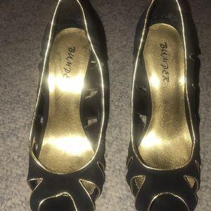 Bumper Black and Gold Heels